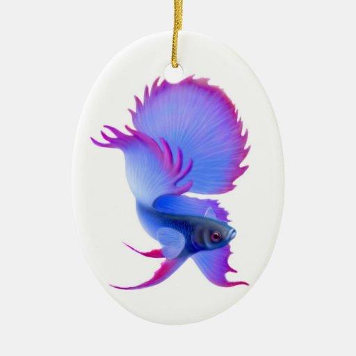 Ornamento de los pescados de Betta que lucha Adorno Navideño Ovalado De Cerámica