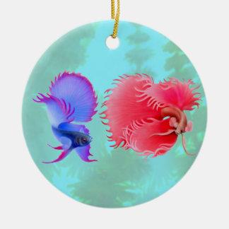 Ornamento de los pescados de Betta que lucha que Adorno Redondo De Cerámica