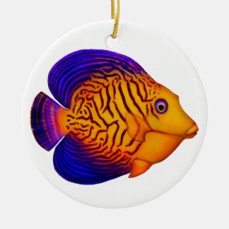 Ornamento de los pescados de Chevron Tang del Adorno Navideño Redondo De Cerámica