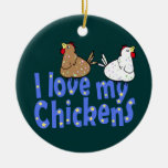 Ornamento de los pollos del amor adornos de navidad