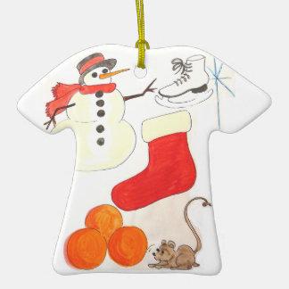 Ornamento de los ratones del n del muñeco de nieve adorno de cerámica en forma de camiseta