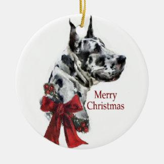 Ornamento de los regalos del navidad de great dane adorno navideño redondo de cerámica