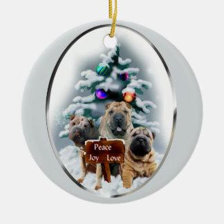 Ornamento de los regalos del navidad de Shar-Pei d Ornamento De Navidad