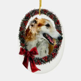 Ornamento de los regalos del navidad del Borzoi Adornos