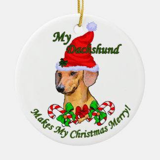 Ornamento de los regalos del navidad del Dachshund Adorno Redondo De Cerámica