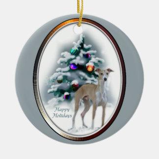 Ornamento de los regalos del navidad del galgo adorno redondo de cerámica