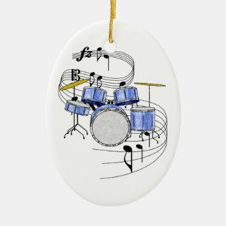 Ornamento de los tambores adorno navideño ovalado de cerámica