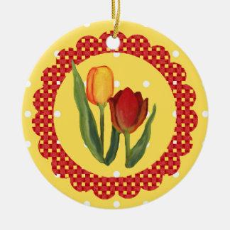 Ornamento de los tulipanes adorno navideño redondo de cerámica