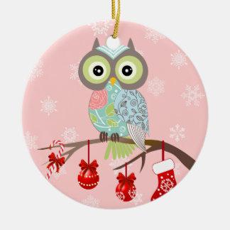 Ornamento de lujo enrrollado del navidad del búho adorno navideño redondo de cerámica