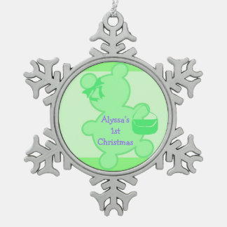 Ornamento de lujo verde del navidad del oso de pel