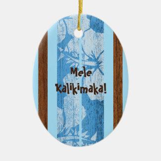 Ornamento de madera de la tabla hawaiana del adorno navideño ovalado de cerámica