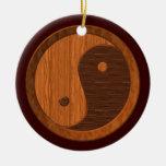 Ornamento de madera de Yin Yang Adorno Navideño Redondo De Cerámica