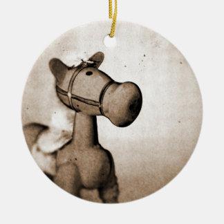 Ornamento de madera del caballo mecedora adorno navideño redondo de cerámica