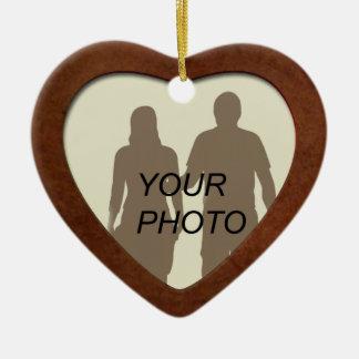 Ornamento de madera del marco de la foto de la adorno navideño de cerámica en forma de corazón