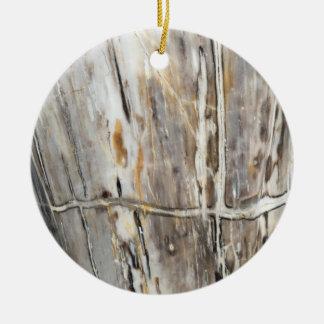 Ornamento de madera gris y poner crema del grano adorno navideño redondo de cerámica