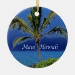 Ornamento de Maui Hawaii Adorno Navideño Redondo De Cerámica