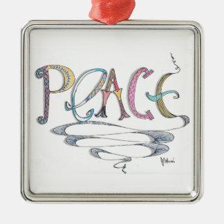 Ornamento de metal cuadrado de la paz adorno navideño cuadrado de metal