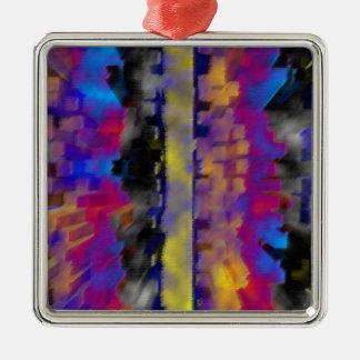 Ornamento de metal cuadrado superior de la galaxia adorno navideño cuadrado de metal