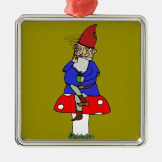 Ornamento de metal normando del gnomo adorno navideño cuadrado de metal