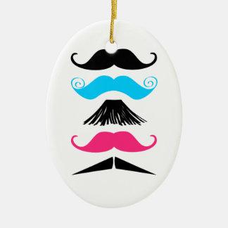 Ornamento de moda de Stache de 5 bigotes Adorno Navideño Ovalado De Cerámica