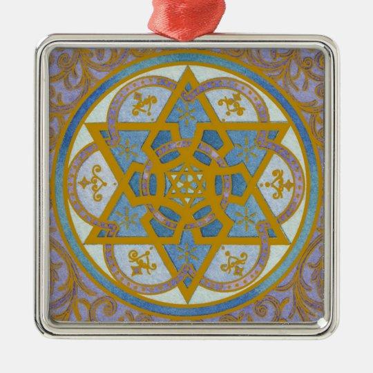 Ornamento de Mogen David Chanukah Adorno Navideño Cuadrado De Metal