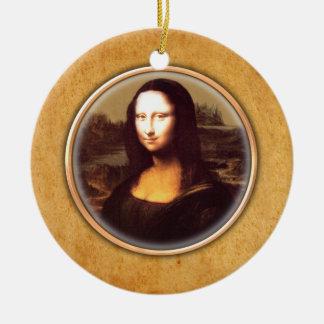 Ornamento de Mona Lisa de Leonardo da Vinci Adorno Redondo De Cerámica