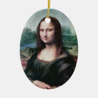 Ornamento de Mona Lisa Adorno Ovalado De Cerámica