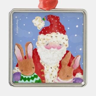 Ornamento de Navidad de Santa y de los conejos