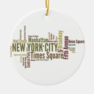 Ornamento de New York City Adorno Navideño Redondo De Cerámica