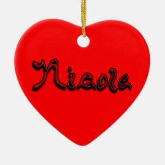 Ornamento de Nicole Adorno Navideño De Cerámica En Forma De Corazón