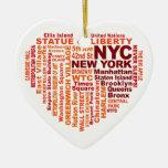 Ornamento de NYC - personalizable Adorno Navideño De Cerámica En Forma De Corazón