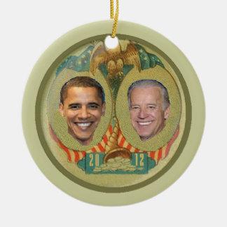 Ornamento de Obama 2012 Adorno Navideño Redondo De Cerámica