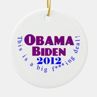 Ornamento de Obama Biden 2012 BFD Adorno Redondo De Cerámica