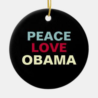 Ornamento de OBAMA del amor de la paz Adorno Navideño Redondo De Cerámica