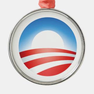 Ornamento de Obama O Adorno Redondo Plateado