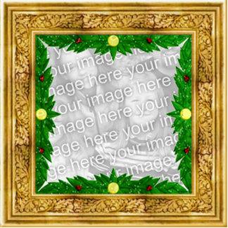 Ornamento de oro adaptable del navidad del marco fotoescultura vertical