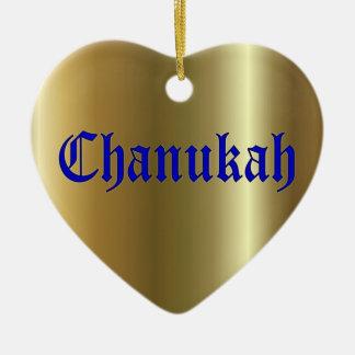 Ornamento de oro azul del corazón de Chanukah Adorno Para Reyes
