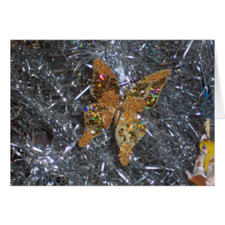 Ornamento de oro de la mariposa tarjeta de felicitación