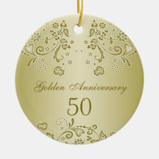 Ornamento de oro del aniversario de boda de los adorno navideño redondo de cerámica