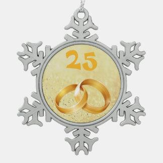 Ornamento de oro del aniversario feliz adorno de peltre en forma de copo de nieve