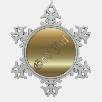 Ornamento de oro del estaño del copo de nieve del adorno de peltre en forma de copo de nieve