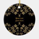 Ornamento de oro negro del personalizado de la fro adorno de navidad