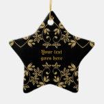 Ornamento de oro negro del personalizado de la fro ornaments para arbol de navidad