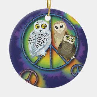 Ornamento de Owl~ de la paz Adorno Navideño Redondo De Cerámica