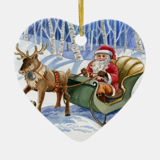 Ornamento de Papá Noel Customizeable Adorno Navideño De Cerámica En Forma De Corazón