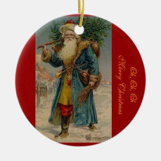 Ornamento de Papá Noel del navidad del Victorian Adorno Redondo De Cerámica