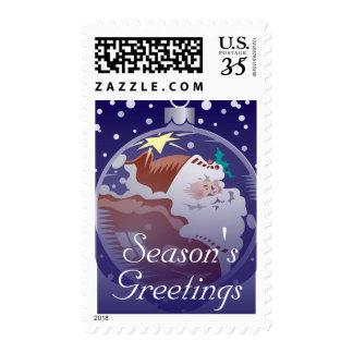 Ornamento de Papá Noel Timbre Postal