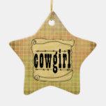 Ornamento de papel del navidad de la vaquera de la ornato