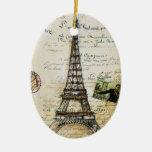 Ornamento de París Adorno Navideño Ovalado De Cerámica