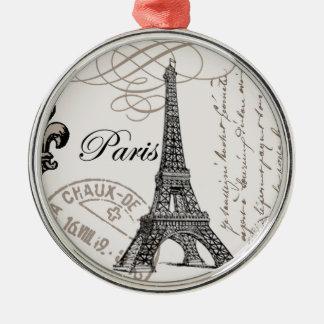 Ornamento de París del vintage… Adorno Navideño Redondo De Metal